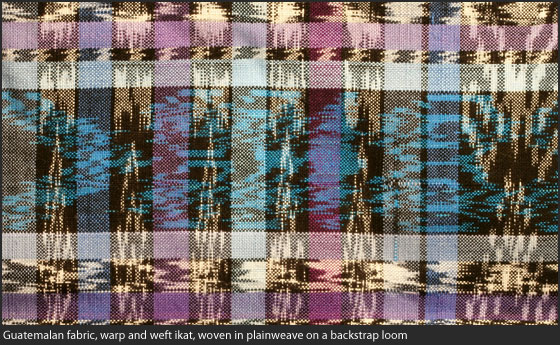 Guatemalan fabric, warp and weft ikat, woven in plainweave on a backstrap loom