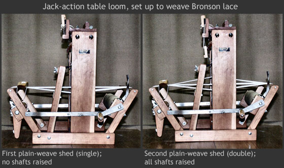 Jack-action table loom set up to weave Bronson lace
